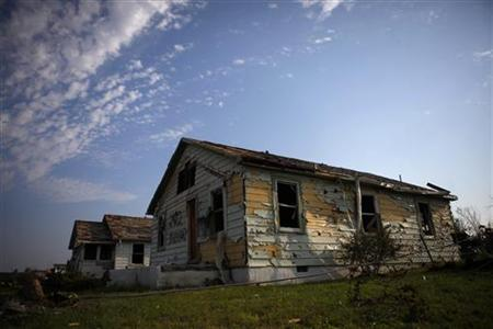 A damaged home is seen in Joplin, Missouri
