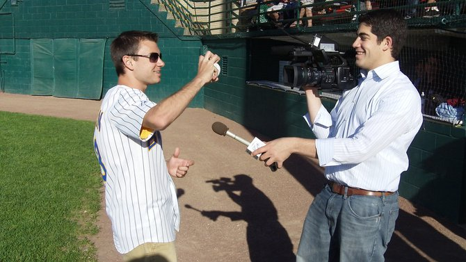 Mike Mathers throws out the first pitch at the Woodchucks opener on June 1, 2011.