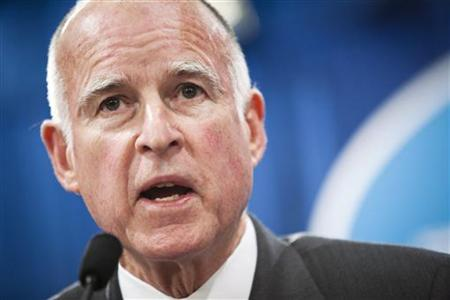 California Governor Jerry Brown introduces his budget proposal in Sacramento.