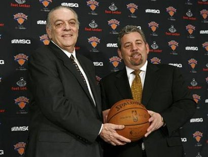 New York Knicks owner Dolan poses with Walsh after officially announcing the hiring of Walsh as the president of basketball operations durin