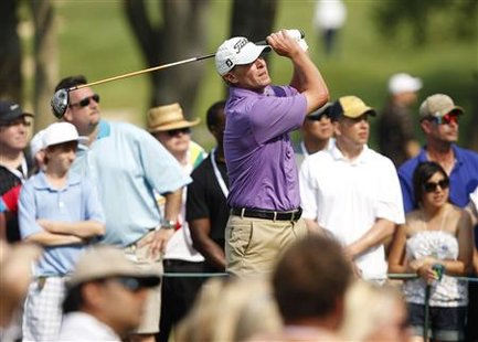 Steve Stricker of the U.S. hits his tee shot on the 15th hole during the third round of the Memorial Tournament at Muirfield Village Golf Cl