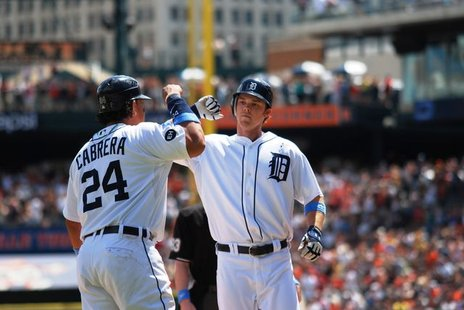 Detroit Tigers Miguel Cabrera and Brennan Boesch celebrate in a stock image from 2010.