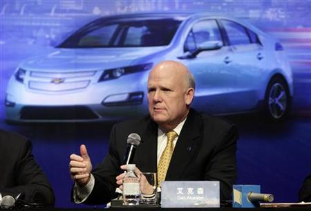 GM Chief Executive Daniel Akerson answers a question in Beijing