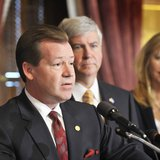 Michigan Senate Majority Leader Randy Richardville, R-Monroe, addresses members of the media during a press conference with Gov. Rick Snyder and legislative colleagues announcing an agreement on spending targets for the FY 2012 state budget.  Photo courtesy of senate.michigan.gov.