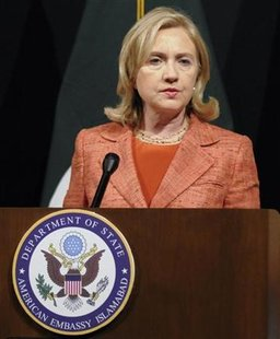 U.S. Secretary of State Hillary Clinton speaks during a news conference at the U. S. embassy in Islamabad