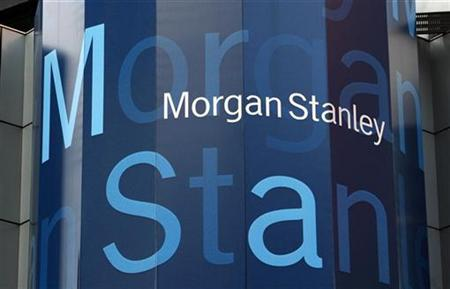 A sign is seen on the exterior of the headquarters of investment bank Morgan Stanley in New York City