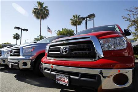 2011 Toyota Tundra pick-up trucks are pictured at a dealership in Glendale