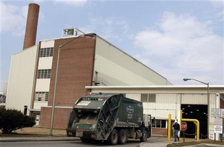 A trash truck enters the Harrisburg Incinerator in Harrisburg, Pennsylvania, March 10, 2010.