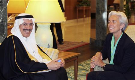 France's Finance Minister Lagarde meets with Muhammad al-Jasser, governor of the Saudi Arabian Monetary Agency in Jeddah