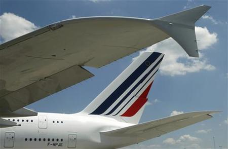 The wingtip and tail of an Air France Airbus 380 are shown after its maiden arrival at Dulles International Airport in Virginia