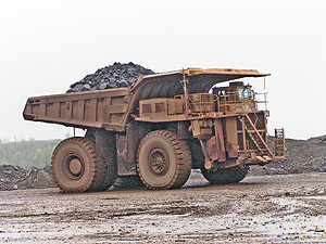 Truck moving iron ore