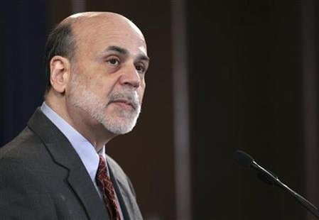 U.S. Federal Reserve Chairman Bernanke pauses during news conference at Federal Reserve in Washington