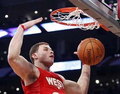 West All Star Griffin of the Clippers dunks during the NBA All-Star basketball game in Los Angeles