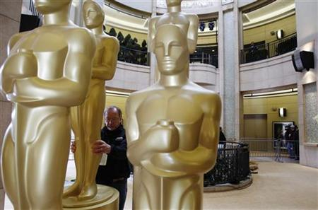 Oscar statues are inspected for blemishes during preparations for the 83rd Academy Awards in Hollywood, California