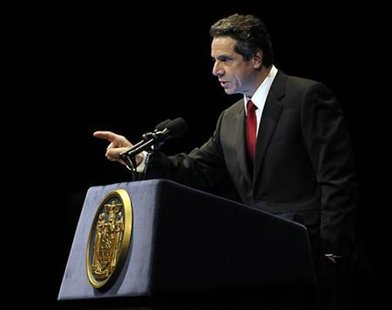 New York Governor Cuomo presents his 2011-12 budget proposal in Albany