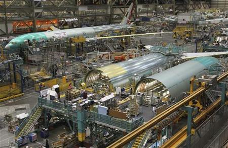 Turkish Airlines Boeing 777 is seen on the production line in Everett