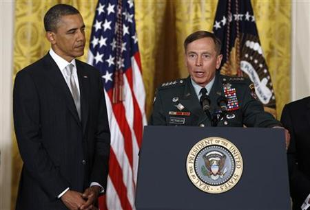 General David Petraeus speaks after being introduced by President Barack Obama at the White House in Washington