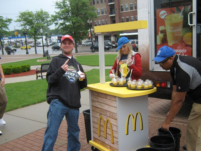 Q106 & McDonald's had a good time with you before the game, the samples of the new McCafe Mango Pineapple Real Fruit Smoothie.
