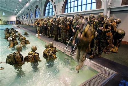 United States Marine Corps recruits go through aquatic training exercises at Parris Island, South Carolina