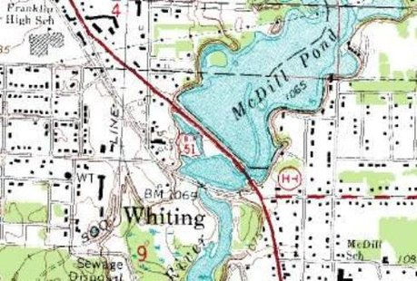 A map of McDill Pond in Whiting, WI