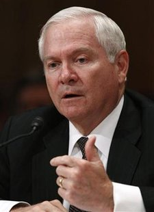 U.S. Secretary of Defense Robert Gates answers questions on the Department of Defense Fiscal Year 2012 budget request in Washington