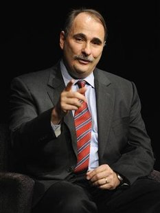 White House Senior Advisor Axelrod makes a point during an interview at the Newseum in Washington