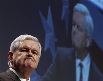 Former U.S. Speaker of the House Newt Gingrich reacts during the 38th annual CPAC meeting in Washington