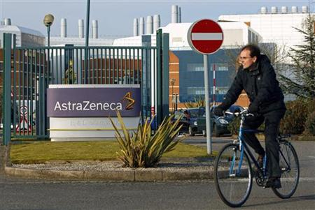 A worker leaves the AstraZeneca research facility in Loughborough