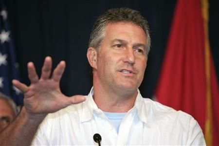 U.S. Republican Representative from Arizona Rick Renzi gestures as he speaks during a news conference at the fortified Green Zone in Baghdad