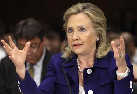 Secretary of State Clinton testifies on Capitol Hill in Washington