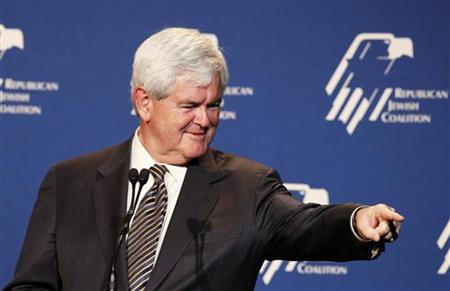 Republican U.S. presidential candidate Newt Gingrich speaks at a Republican Jewish Coalition event in Beverly Hills