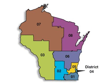 A map of Wisconsin's 2010 congressional districts