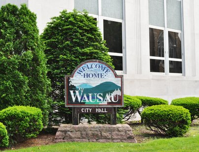 Wausau City Hall sign. Image taken 6/16/2011.