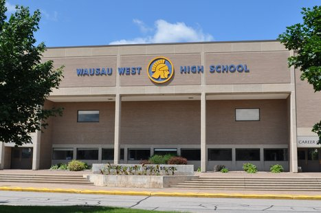 Wausau West High School in the Wausau School District. Image taken 6/24/2011.