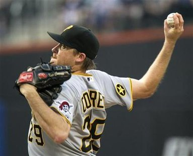 Pittsburgh Pirates' Kevin Correia throws pitch to New York Mets in New York