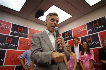 Republican candidate for US President Huntsman addresses campaign workers and supporters at his national campaign headquarters in Orlando