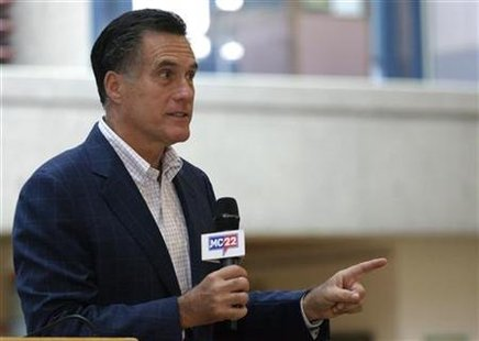 Former Massachusetts Governor Romney speaks during the Greater Des Moines Partnership's Presidential Forum Speaker Series