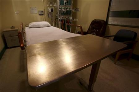 A copper bedside table is seen at the Copper Hospital in Calama city