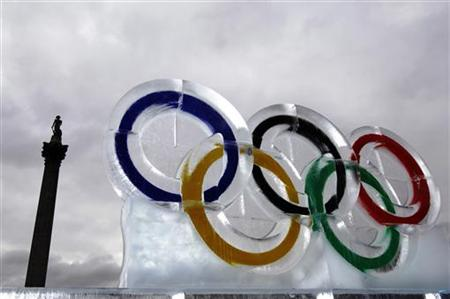 An ice sculpture of the Olympic rings
