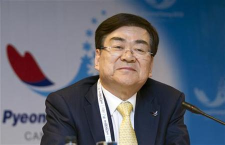 Yang Ho Cho speaks to the media ahead of the 123rd IOC Session in Durban