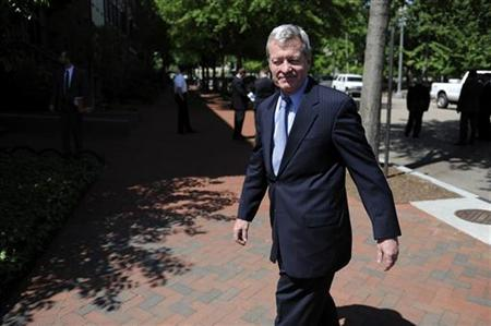 US Senate Finance Committee Chairman Baucus arrives at the Blair House in Washington