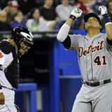 Detroit Tigers designated hitter Victor Martinez celebrates a run earlier in the 2011 season.  Photo courtesy of Reuters Mike Cassese (CANADA - Tags: SPORT BASEBALL IMAGES OF THE DAY)