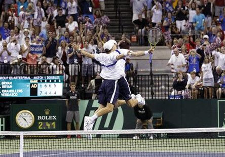 Mike Bryan and Bob Bryan, of the U.S., celebrate after defeating Fernando Verdasco and Marcel Granollers of Spain during their Davis Cup dou