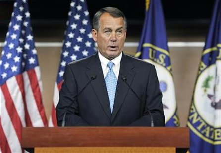 Boehner holds a news conference about talks aimed at averting a looming U.S. debt default, at the U.S. Capitol in Washington