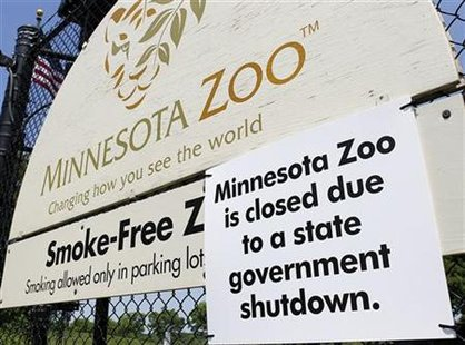 The Minnesota Zoo is closed due to the state government shutting down after a failed budget deal going into the July 4 holiday
