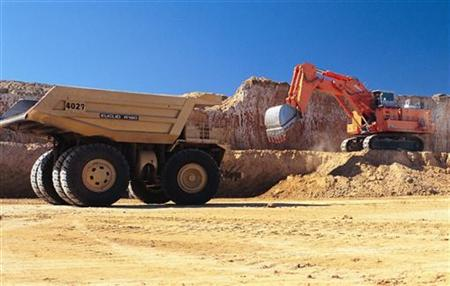 Handout photograph of truck being loaded at Macarthur Coal's Coppabella mine