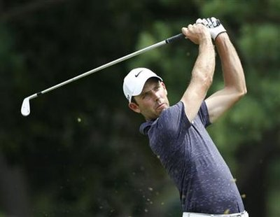 Schwartzel tees off on the second hole in the third round of the 2011 U.S. Open in Maryland