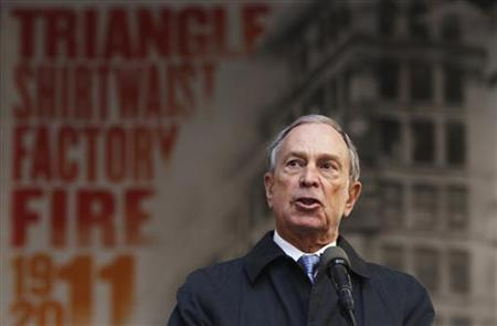 New York City mayor Michael Bloomberg speaks during a ceremony to commemorate the 100th anniversary of the Triangle Shirtwaist fire in New Y