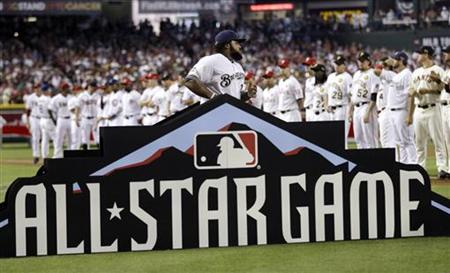 National League's Prince Fielder is introduced during starting lineups for MLB's All-Star Game in Phoenix