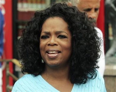 Oprah Winfrey speaks to the media while attending the second day of the Allen and Company Sun Valley Conference in Sun Valley